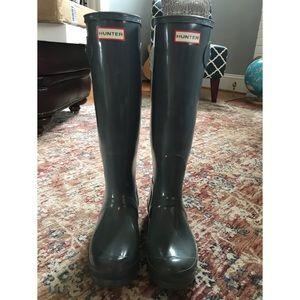 Hunter Women's Tall Gloss Gull Grey Boots